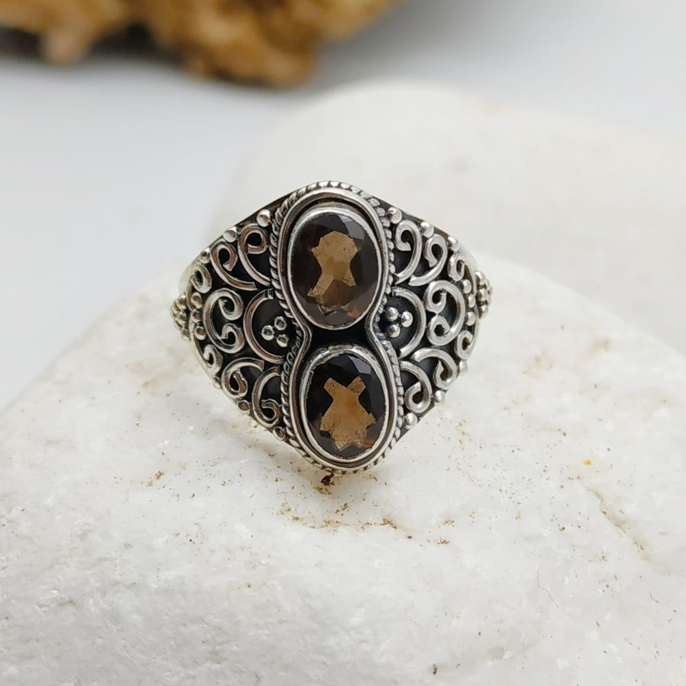 Silver Ring with double smoky stone