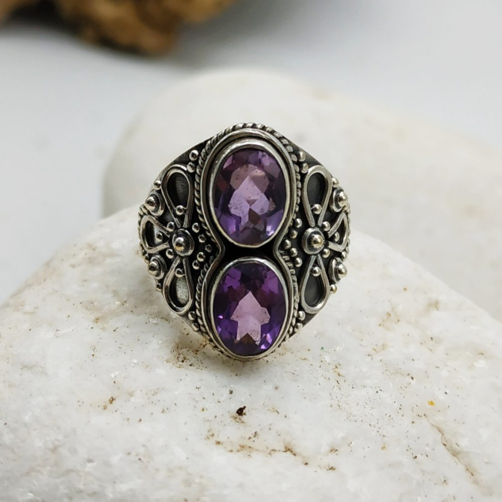 Silver Ring with double amethyst stone