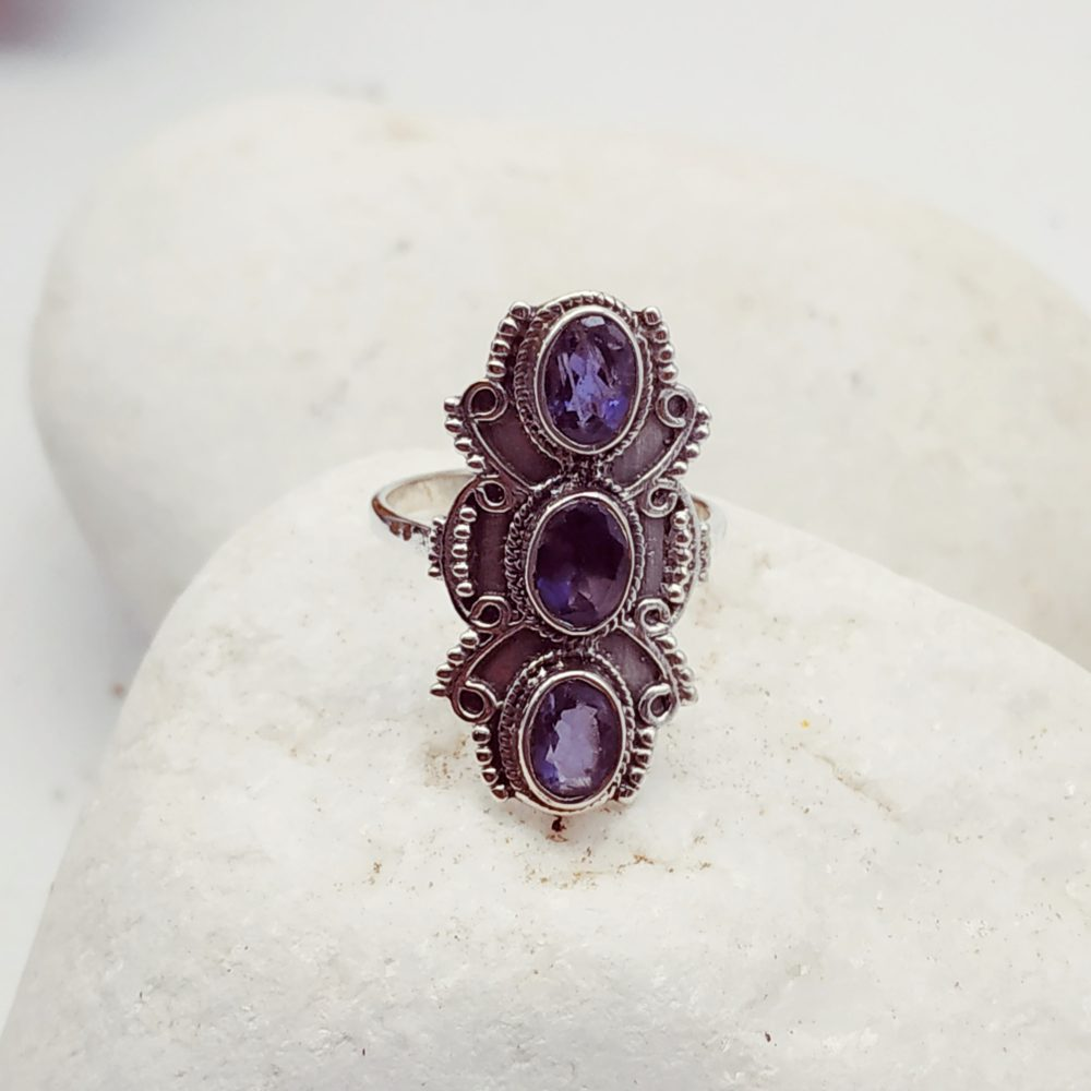 Silver Ring with triple amethyst stone
