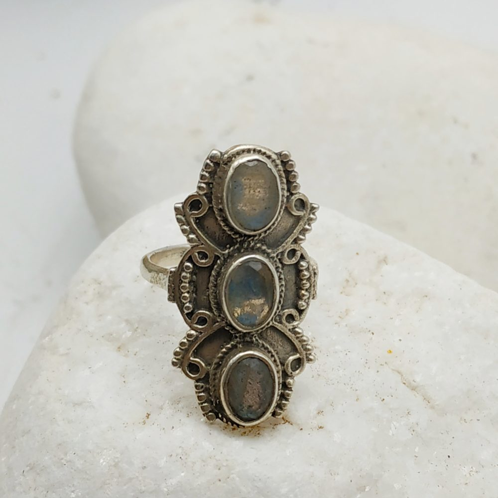 Silver Ring with triple moon stone
