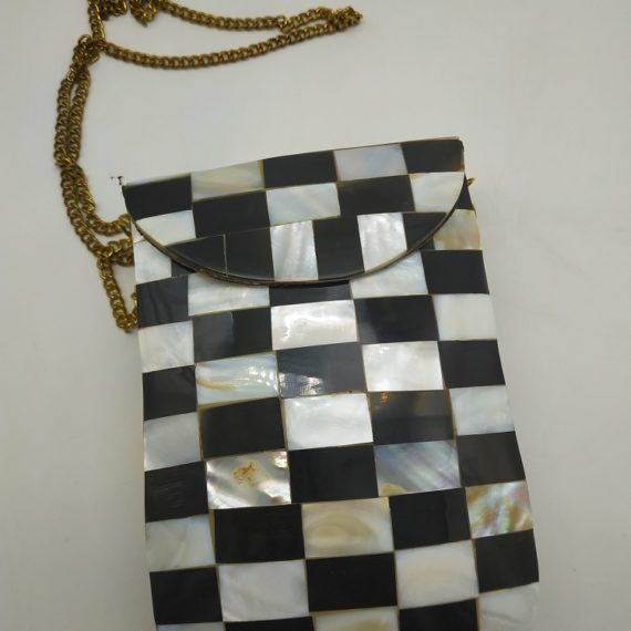 088 Mother of Pearl Long Chest Black & White Metallic Bag