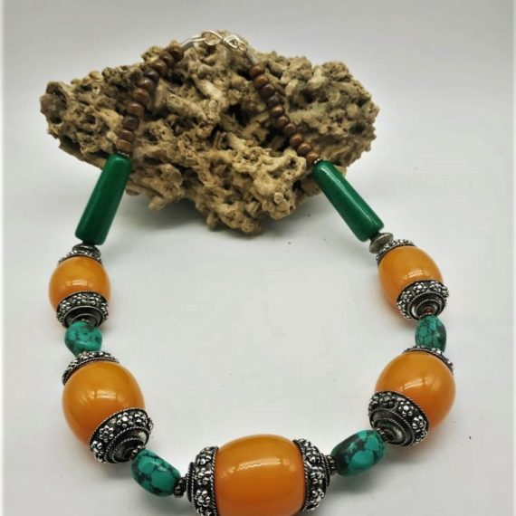 1583 Tribal replica necklace in amber color