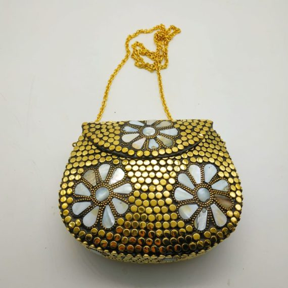 1211 Brass Bag mother of pearls flower
