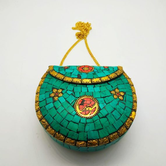 517 Brass Bag with turquoise color