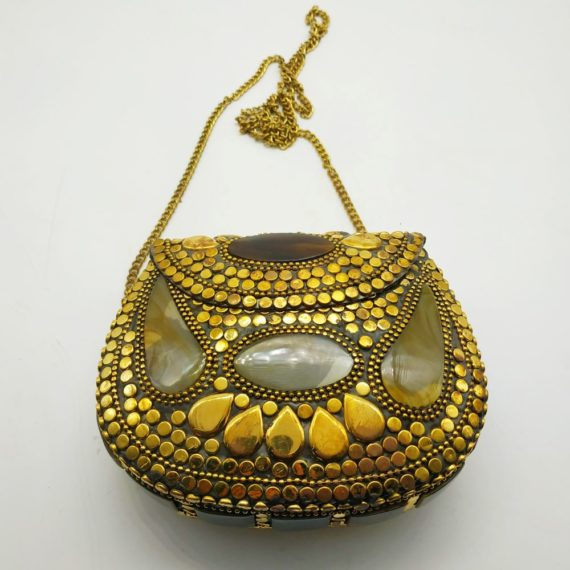 1211 Brass Bag with horn look